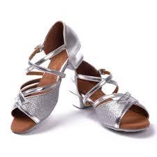 Comfortable Ballroom Dancing Shoes Wholesale 2016 Silver Latin Ballroom Dance Shoes Low Heel