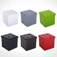 modern folding ottoman storage cube box seat faux leather