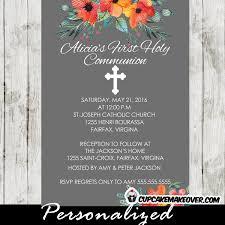 holy communion invitations orange blossom floral communion invitation personalized