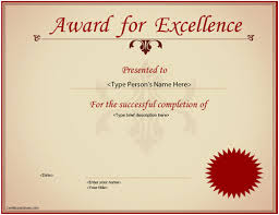 business certificate excellence award certificate