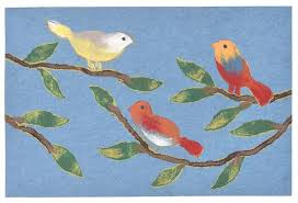 trans ocean visions iii chirp birds blue area rug by liora manne