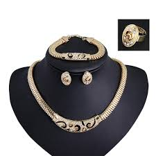 gold plated statement necklace images Fashion gold filled wedding african women dubai jewelry sets 18k jpg