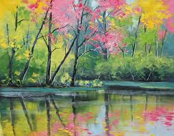 landscape painting artists river painting pencil and in color river