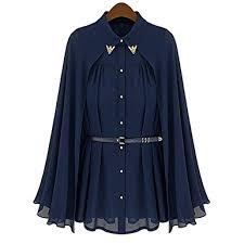 navy blue blouse rosenice sleeveless s cape style chiffon blouse shirt
