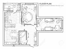 top view floor plan floor plan with furniture in top view architectural set of