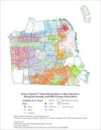 Maps San Francisco by Children 5 17 Years Old By Race In San Francisco As A Dot Density