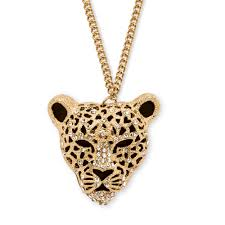 gold animal pendant necklace images White crystal leopard pendant necklace in yellow gold tone 28 quot 30 jpg