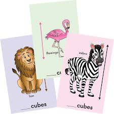 measuring with cubes zoo animals cards set