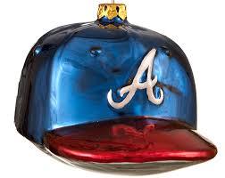 Softball Christmas Ornament - atlanta braves baseball hat personalized ornament