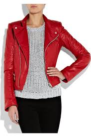 red leather motorcycle jacket joseph perfeto leather biker jacket in red lyst