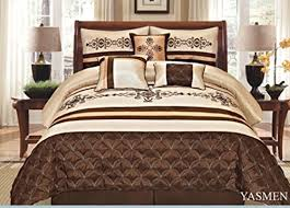 Brown Queen Size Comforter Sets 7 Pieces Complete Bedding Ensemble Beige Brown Gold Luxury
