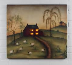radiance lighted canvas good life folk art saltbox house sheep