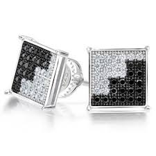mens black diamond earrings 925 sterling silver dual color cz micropave mens stud earrings
