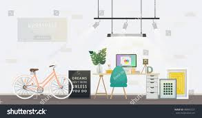 design modern home office designer workplace stock vector