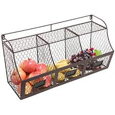 wall fruit basket large rustic brown metal wire wall mounted hanging
