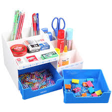 Colorful Desk Accessories 1 Set Plastic Stationery Holders 3 Layers Desk Accessories