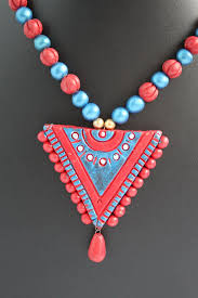 red necklace earring set images Handmade terracotta jewellery traditional necklace earring set JPG