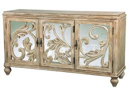 Pulaski Console Table 62 W X 18 D X 34 H Mirrored Door Panels Scrollwork Overlay