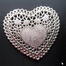heart shaped doilies 4 inch silver color heart shaped cake paper pad lace doilies