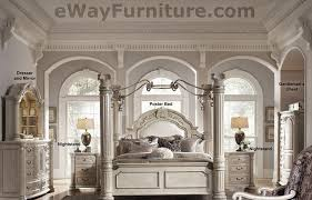 silver pearl four poster bed with iron canopy