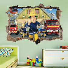 fireman sam 3d wall sticker smashed bedroom kids decor vinyl super