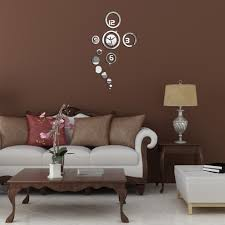 diy bedroom office home decoration round mirror glass wall clock