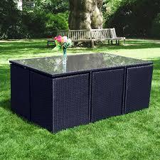 Patio Dining Sets Seats 6 - richmond verano cube 6 black rattan garden dining set leader stores
