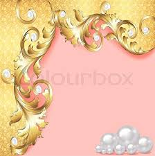 illustration of a pink background with gold ornaments and pearls