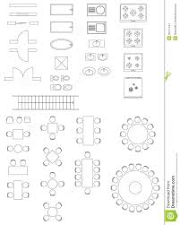 furniture linear vector symbols floor plan icons set stock vector