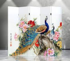 5 panel room divider w peacock and flowers