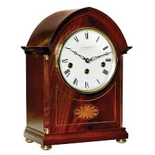 Pewter Mantle Clock Inlaid Mahogany Lancet Mantel Clock Mantel U0026 Desk Clocks
