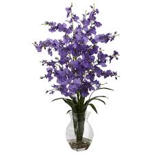 silk flower purple orchid silk flower arrangement with vase