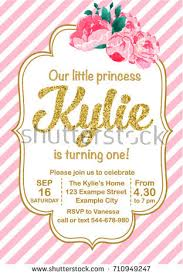 first birthday party invitation kylie stock vector 710949247