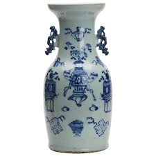 Chinese Blue And White Vase Large Antique Chinese Celadon Blue And White Vase 19th Century