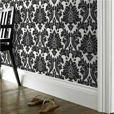 majestic damask feature wall wallpaper black u0026 white metallic