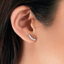 bar stud earrings pavé curved bar stud earrings