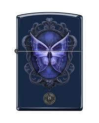 zippo 1358 stokes butterfly and skull royal blue matte