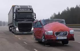 luxury semi trucks feature flick volvo u0027s self braking semi truck stops on a kronor