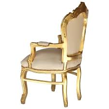 Faux Leather Armchair Uk Seat Baroque Armchair Vintage Faux Leather Beige Solid Wood Golden