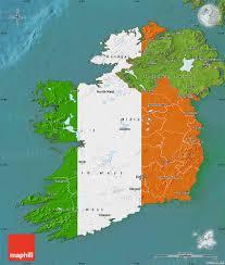 flag map of ireland satellite outside