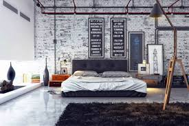 bedroom bedroom ideas for guys with brick accent walls and tufted