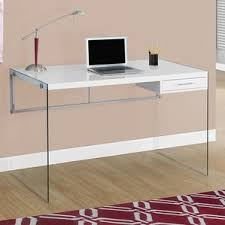 Glass Top Desk With Keyboard Tray Glass Desks You U0027ll Love Wayfair