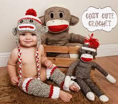 sock monkey costume sock monkey hat leg warmers set crochet hat leg warmers