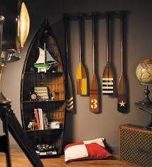 Nautical Bookcase Decorative Wooden Oars Interior Design Nautical Handcrafted