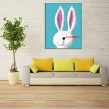 Rabbit Home Decor Hand Painted Abstract Cartoon Rabbit Oil Painting Hang Paintings