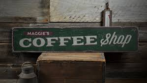 coffee shop wood sign custom java store owner name gift