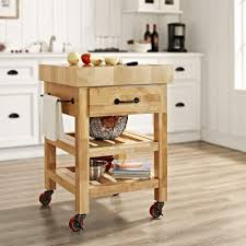 crosley marston natural kitchen cart with butcher block top cf3007