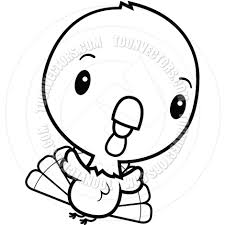 cartoon baby turkey flying black and white line art by cory