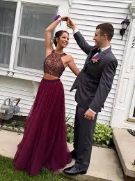 formal dress stylish burgundy two pieces prom dress a line