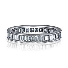 channel set wedding band channel set baguette milgrain diamond eternity ring